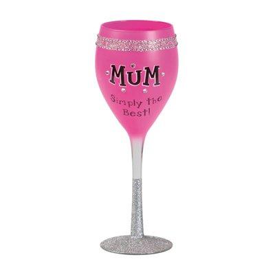 Mum rosa strassglas