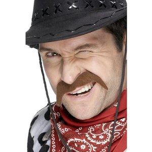Cowboy mustasch brun