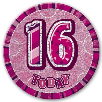 Födelsesdagsknapp för 16-årsdagen rosa - 15 cm