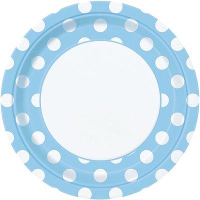 Prickiga tallrikar - Ljusblå - 23 cm 8 st