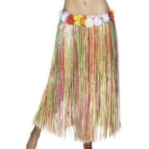 Hulakjol med blomma multifärgad lång