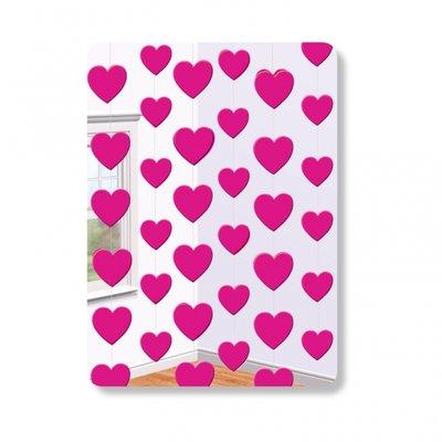 Dekoration på snöre Rosa hjärtan 2,1m - 6 st