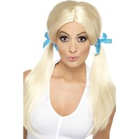 Nosig skolflicka peruk - Blond