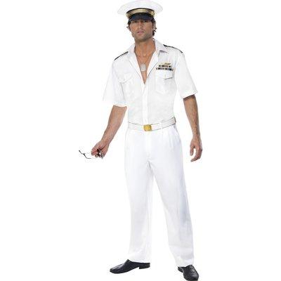Top Gun kapten maskeraddräkt, vit