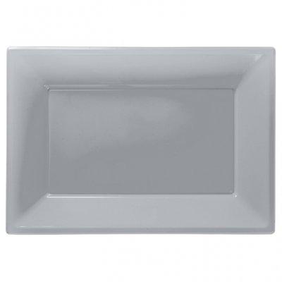 Silverfärgade uppläggningsfat i plast - 3 st