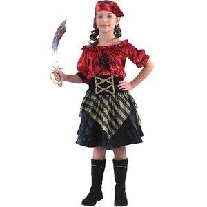 Pirattjej röd maskeraddräkt