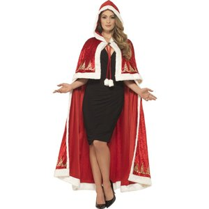 Deluxe Miss Claus Cape Red with Printed Detail