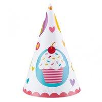 Partyhattar med cupcakemotiv - 6 st
