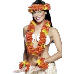 Hawaii-girlang set - röd