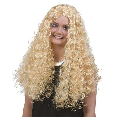 Lång peruk extra lockig blond