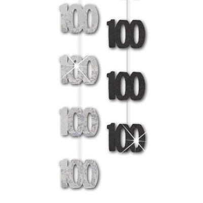 100-års födelsedag svarta hängande dekorationer - 1,5 m festdekorationer - 6 st