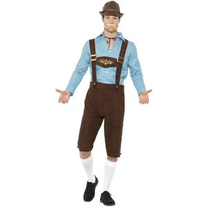 Oktoberfest man maskeraddräkt - Blå/brun