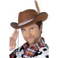 Cowboy / Dallas hatt brun med fjäder