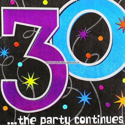 Kaffeservetter till 30-årsdagen - The party continues 3-lagers - 16 st