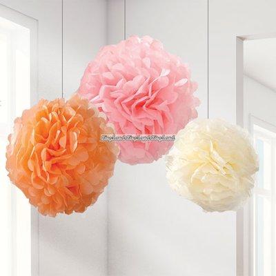 Pastell pom poms - 3 st