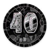 Svart 40-års födelsedagsknapp - 15 cm