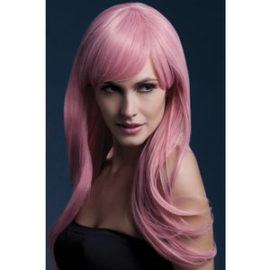 Peruk Sienna lång vågig - rosa