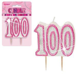 100-års födelsedagsljus - rosa