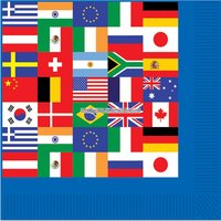 Pappersservetter internationella flaggor 2-lagers - 16 st