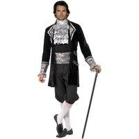 Het barockvampyr maskeraddräkt, svart och silver - Medium