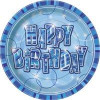 Tallrikar - Happy birthday glitz blå 23 cm 8 st