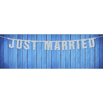 Banderoll - Just married silvrig 18 x 170 cm