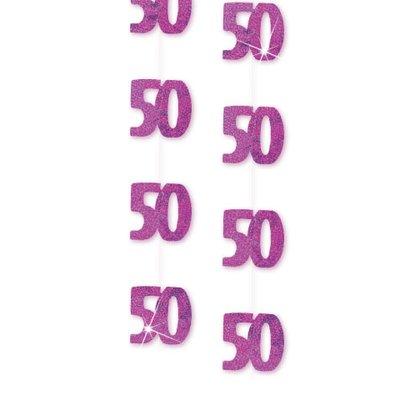 Rosa hängande festdekoration till 50-årsdagen 1,5 m - 6 st