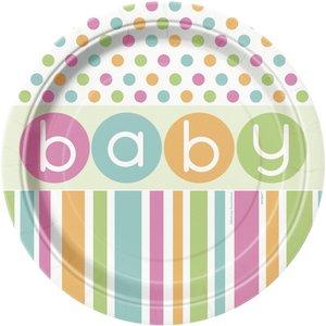 Tallrikar - Baby shower pastel - 8 st