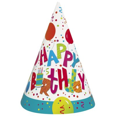 Partyhattar - Happy birthday tårtkalas 8 st