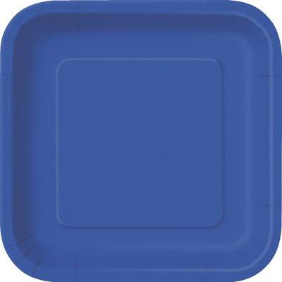 Blå fyrkantiga tallrikar - 23 cm 14 st