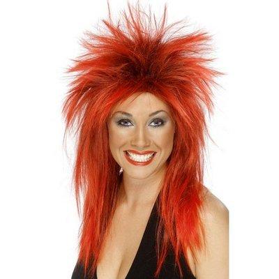 Rockdiva röd-svart peruk