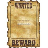 Western wanted reward poster - med plats för foto - 43cm