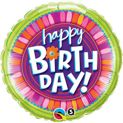 Rund Rosa Folieballong Happy Birthday Blomma