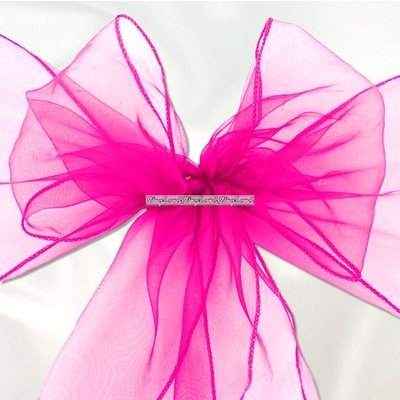 Rosa stoldekoration i organza - 6 st