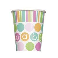 Pappersmuggar - Baby shower pastel - 27 cl 8 st
