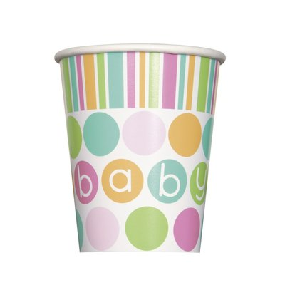 Pappersmuggar - Baby shower pastel - 27 cl 8 st