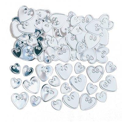 Bordskonfetti silvriga kärlekshjärtan - 14 g