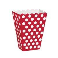 Röda prickiga popcornbägare - 8 st