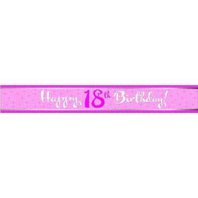 """Foliebanderoll för 18-årsdagen \\\""""Happy birthday\\\"""" rosa - 2,74m"""