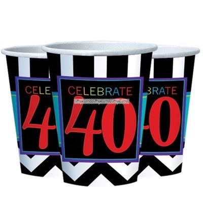 Partymuggar 40-års födelsedag i papper - 8 st