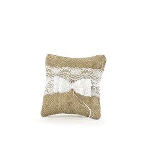 Kudde för vigselringar - Brun med vit spets 16 cm