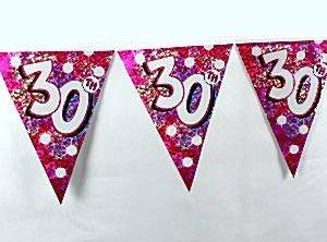 Vimpelbanderoll röd för 30-årsdagen - 4m