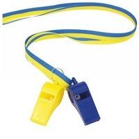 Visselpipor i band blå/gul