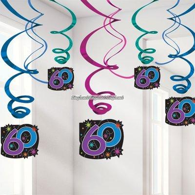 Hängande virvlar festdekoration till 60-årsdagen- The party continues 60 cm- 12 st