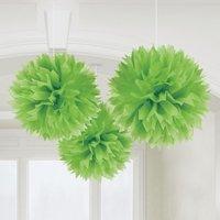 Gröna pom pom dekorationer - 40cm - 3 st