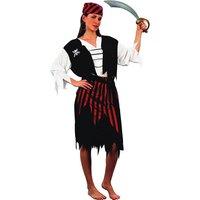 Piratflicka - maskeraddräkt tröja, väst & kjol