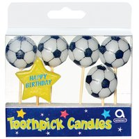 Fotbolls tårtljus - 6 st