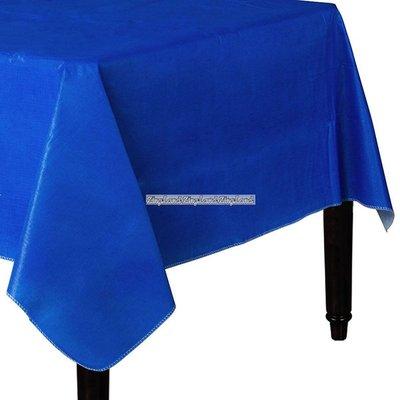 Mörkblå bordsduk i vinyl med baksida av flanell - 132cm x 228cm