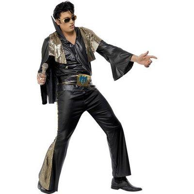 Elvis maskeraddräkt svart och guld