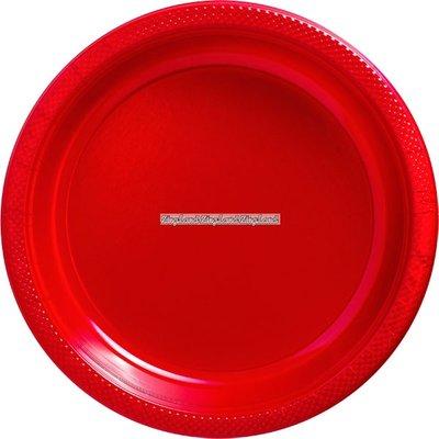 Röda papperstallrikar